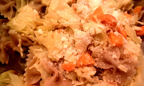 Farfalle with... chicken and carrots?
